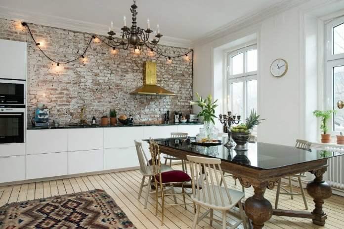 Mutfakların yeni trendi tuğla duvarlar