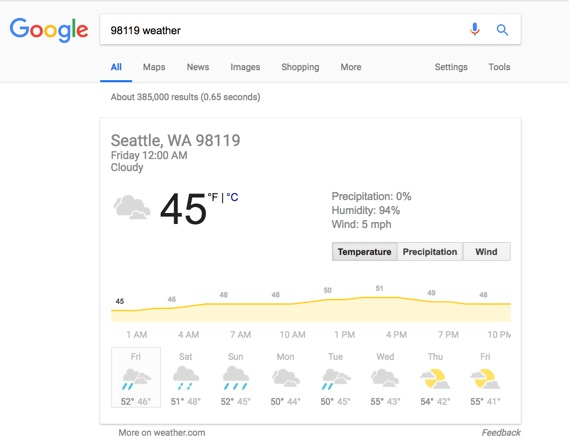 Google Search: 98119 Weather
