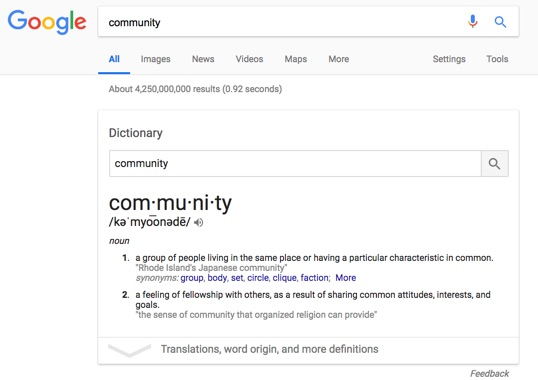 Google Search: Community Definition