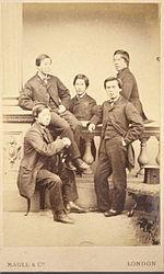 イギリス留学の時の伊藤博文と長州ファイブ