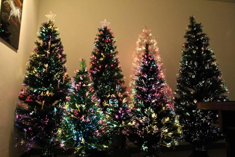 Fiber Optic Decorated Christmas Trees