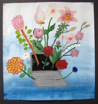 Lillin maalauksessa kukkivat eri maiden kansalliskukat. Se valittiin koulun parhaaksi julisteeksi.