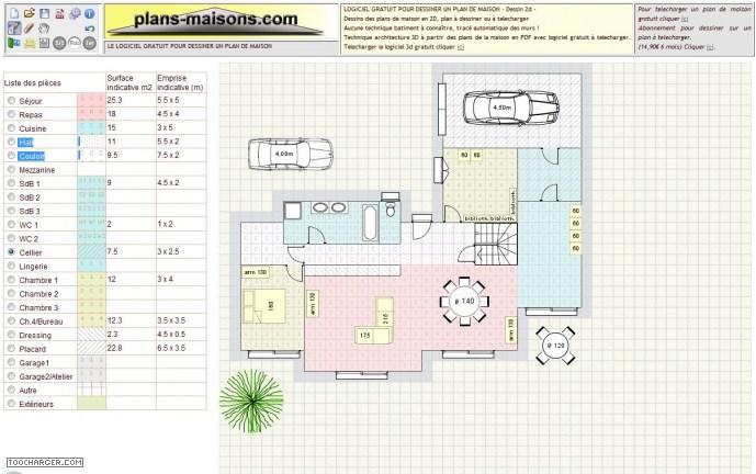 Plan de maison logiciel gratuit 2d - Dessiner son plan de maison en ligne ...