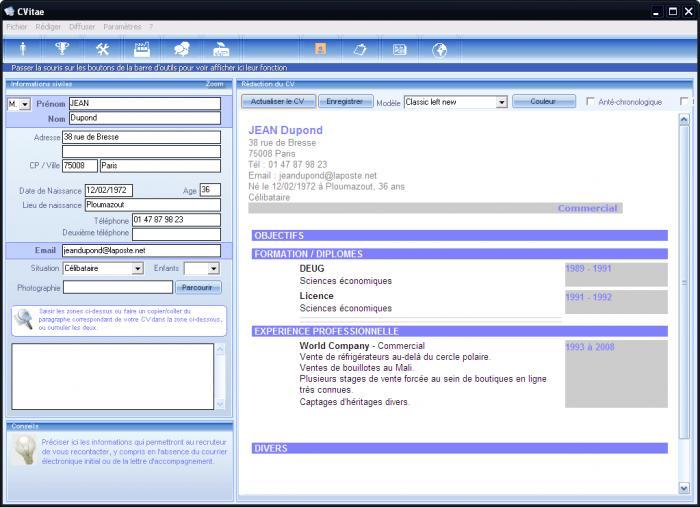 logiciel gratuit pour faire un cv