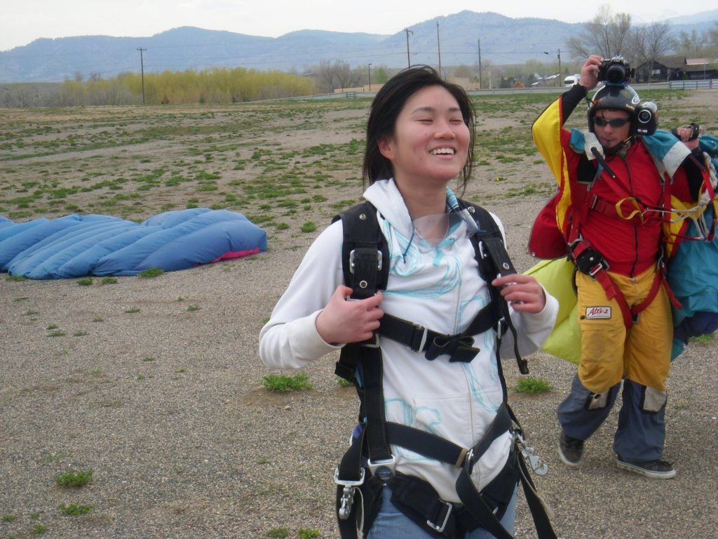 Relishing in the adrenaline rush after skydiving at 20,000 feet!