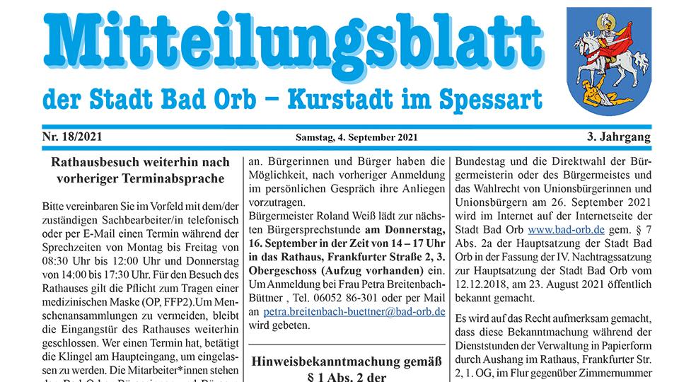 Mitteilungsblatt 4. September 2021