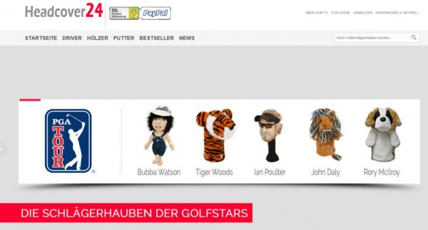 Webseite von Headcover24 (Screenshot)