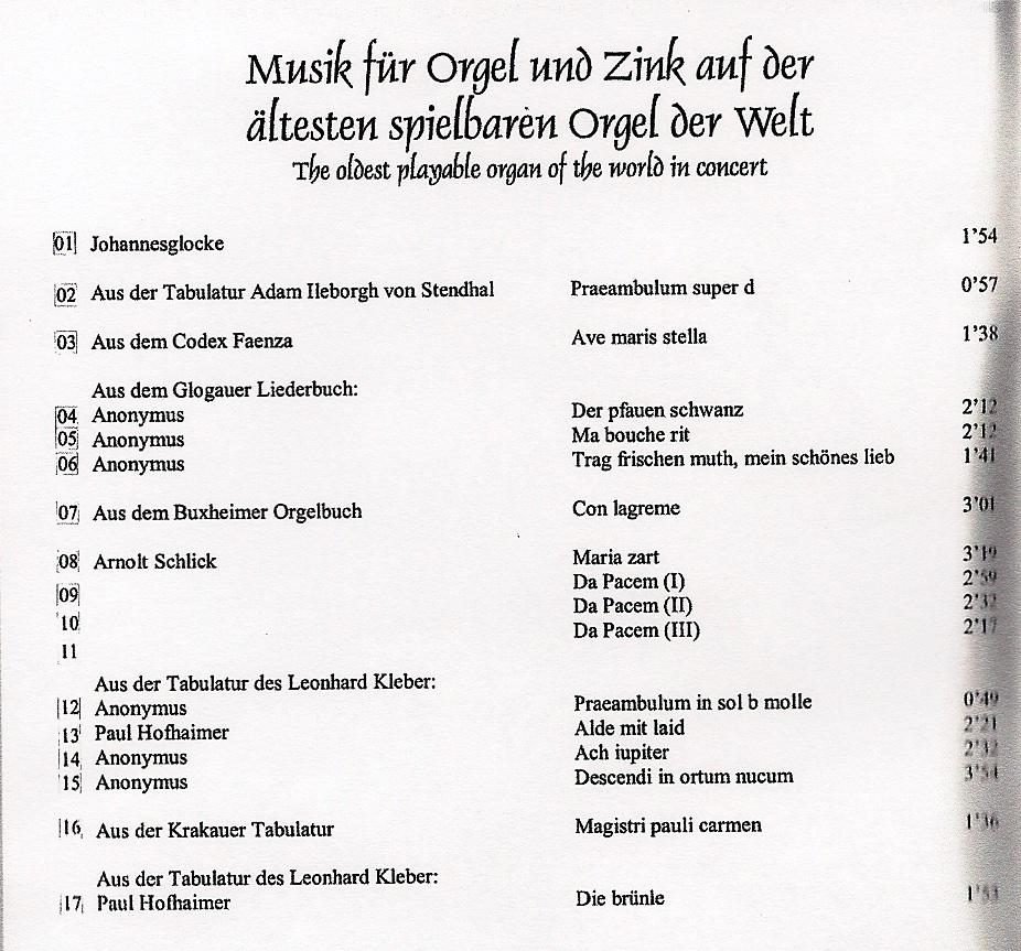 Cover 1 Einspielungen Orgel + Zink