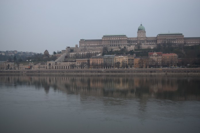 Buda castle viewed from the Pest side.