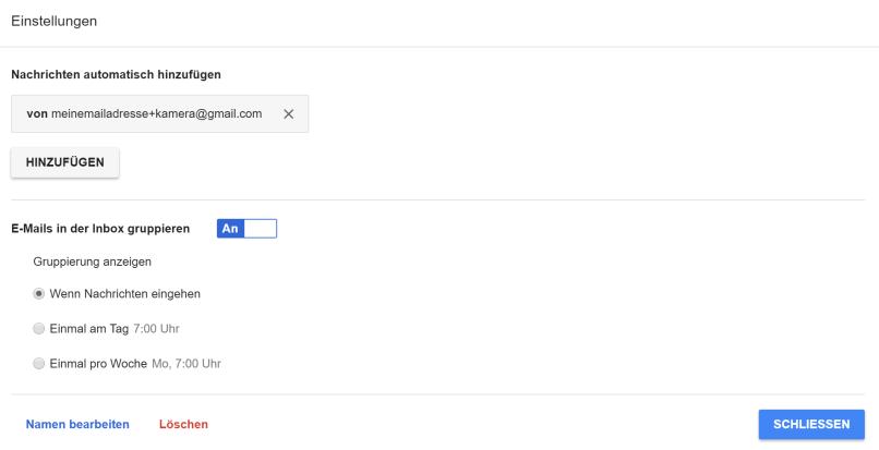 Gmail Label Kamera