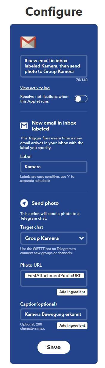 telegram applet ifttt kamera