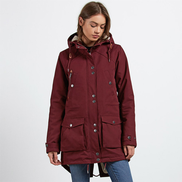 Carhartt Winterjacke Schwarz Volcom Walk On By Parka Damen Winterjacke Weinrot