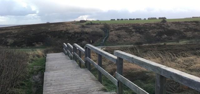 Holztreppe durch die Heidelandschaft zwischen Kampen und Braderup