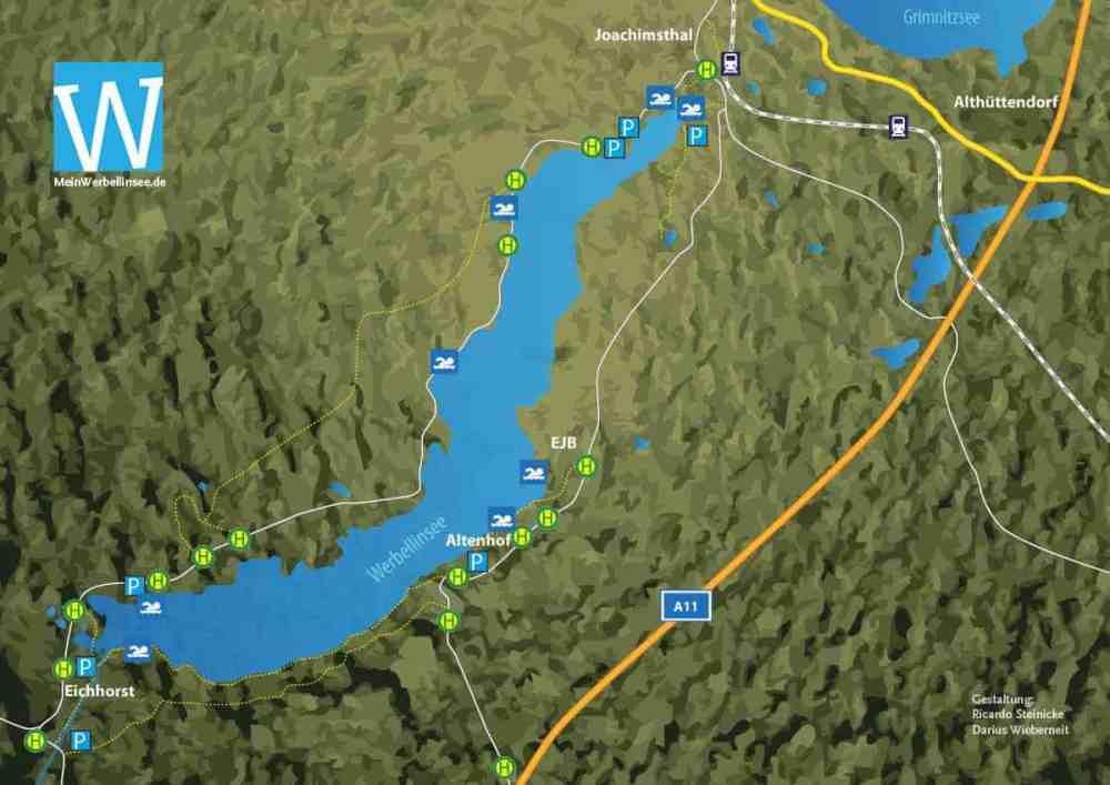 Werbellinsee-Karte-Badestellen