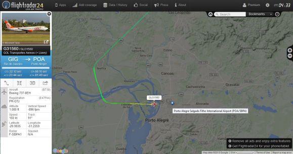 Flightradar.com, mostrando a trajetória de um voo da Gol Rio de Janeiro-Porto Alegre.