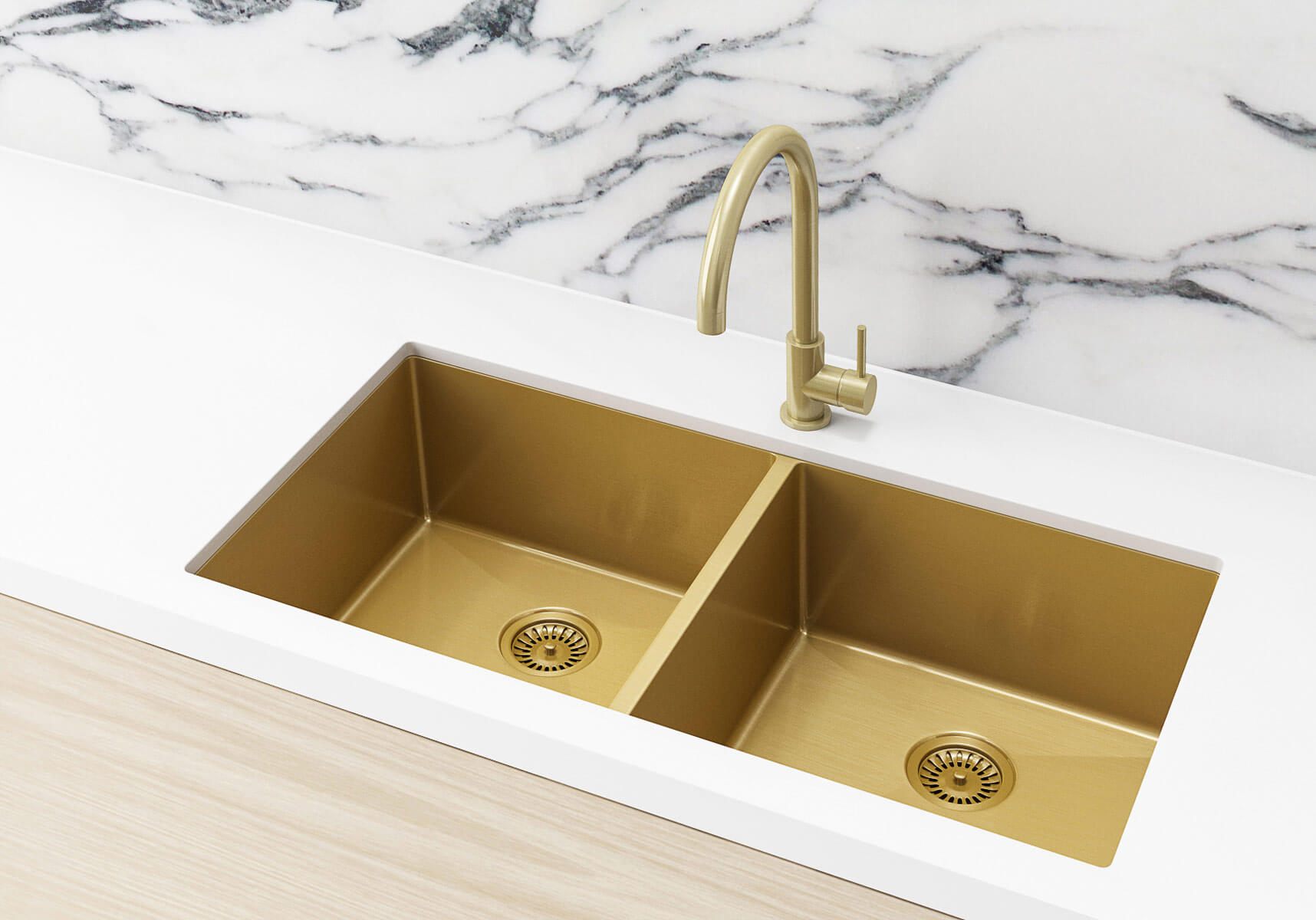 stainless steel double bowl brushed gold kitchen sink nano 860x440x200mm