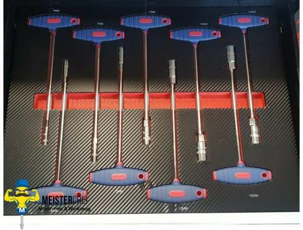 7 volle Schubladen auf 9 XXL Pro Werkzeugwagen 9