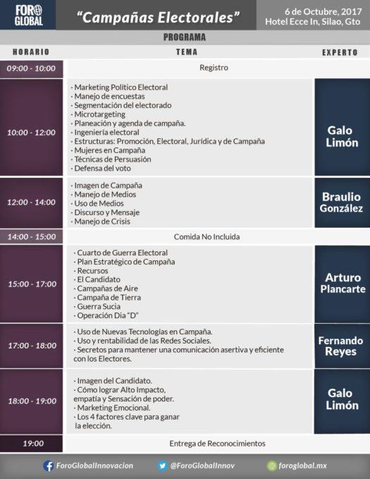 Programa Foro Global Campañas Electorales 6 de octubre 2017