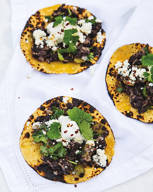 Tacos vegetarianos de frijoles negros
