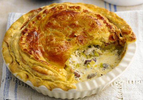 Receta de pastel de champiñones, pollo y puerro
