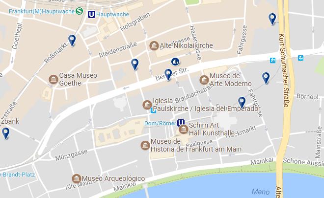 Alojamiento en Frankfurt - Zentrum Altstadt - Clica sobre el mapa para ver todo el alojamiento en esta zona