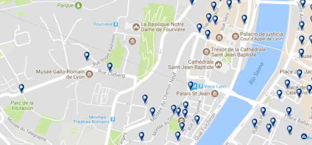 Alojamiento en Vieux Lyon - Clica sobre el mapa para ver todo el alojamiento en esta zona