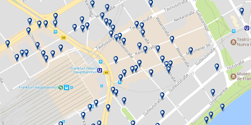 Accommodation in Frankfurt - Banhofsviertel - Click on the map to see all accommodation options in this area