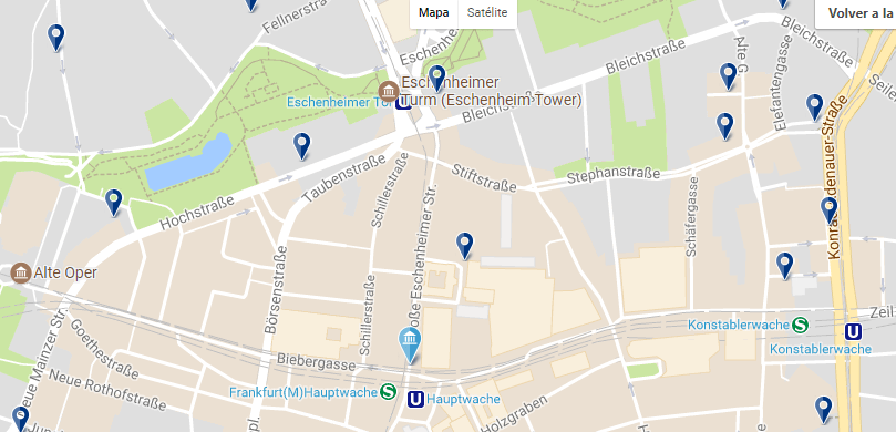 Alojamiento en Frankfurt - Innenstadt - Clica sobre el mapa para ver todo el alojamiento en esta zona