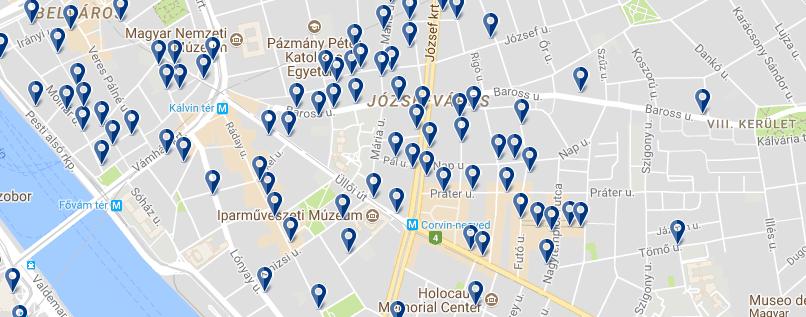 Alojamiento en Józsefváros - Clica sobre el mapa para ver todo el alojamiento en esta zona