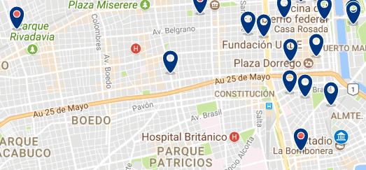Alojamiento cerca de La Bombonera - Clica sobre el mapa para ver todo el alojamiento en esta zona
