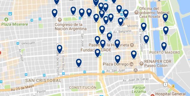 Alojamiento en San Telmo - Clica sobre el mapa para ver todo el alojamiento en esta zona