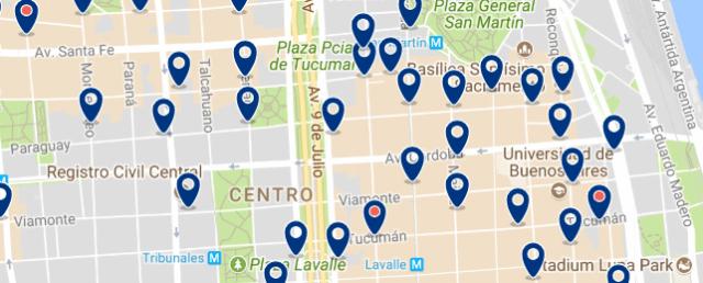 Alojamiento en el Retiro y Microcentro - Clica sobre el mapa para ver todo el alojamiento en esta zona