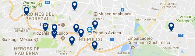 Alojamiento cerca del Estadio Azteca de Ciudad de México - Clica sobre el mapa para ver todo el alojamiento en esta zona