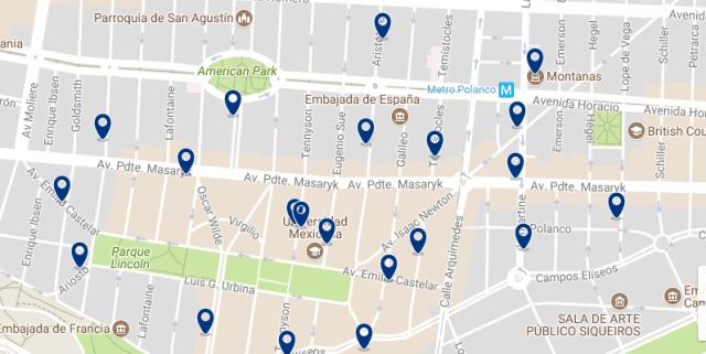 Alojarse en Ciudad de México - Polanco - Clica sobre el mapa para ver todo el alojamiento en esta zona