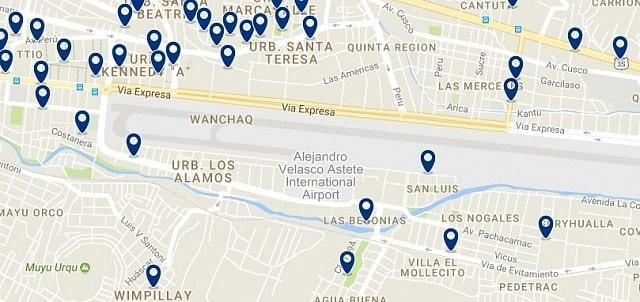 Alojamiento cerca del aeropuerto de Cuzco - Clica sobre el mapa para ver todo el alojamiento en esta zona
