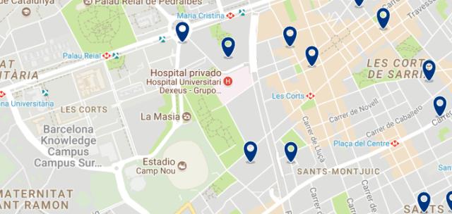Alojamiento en Les Corts - Clica sobre el mapa para ver todo el alojamiento en esta zona