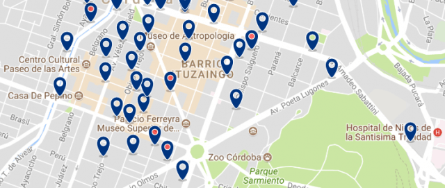 Accommodation in Nueva Córdoba - Click on the map to see all available accommodation in this area