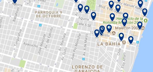 Alojamiento en el Centro de Guayaquil - Clica sobre el mapa para ver todo el alojamiento en esta zona