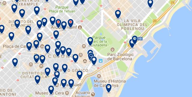 Alojamiento en la Barceloneta - Clica sobre el mapa para ver todo el alojamiento en esta zona