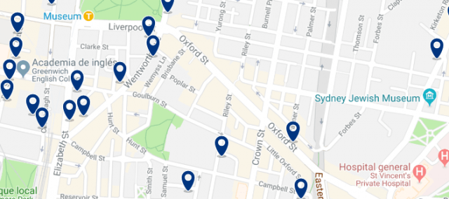 Accommodation in Darlinghurst - Click on the map to see all accommodation in this area