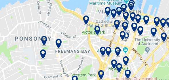 Alojamiento en Ponsonby - Clica sobre el mapa para ver todo el alojamiento en esta zona