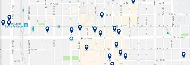 Accommodation in Downtown San Diego - Click on the map to see all available accommodation in this area