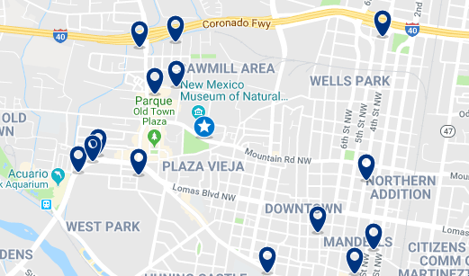 Accommodation in Plaza Vieja and New México Museum – Click on the map to see all available accommodation in this area