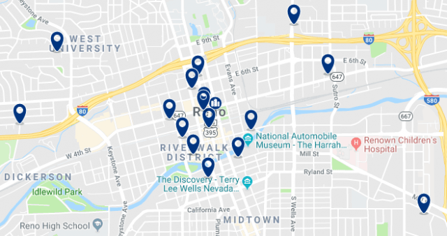 Accommodation in Downtown Reno – Click on the map to see all available accommodation in this area