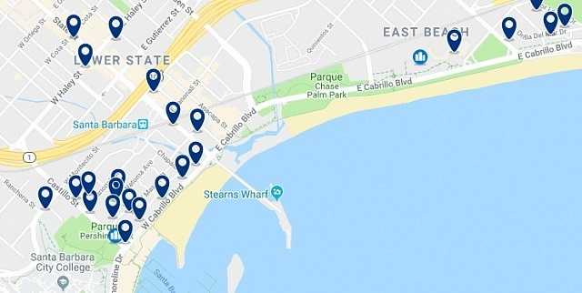 Accommodation in Santa Barbara Beach - Click on the map to see all available accommodation in this area