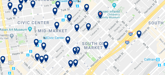 Accommodation in South of Market - Click on the map to see all available accommodation in this area