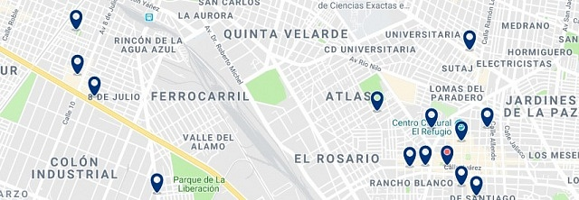 Accommodation in Tlaquepaque - Click on the map to see all available accommodation in this area