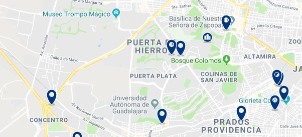 Accommodation in Zapopan - Click on the map to see all available accommodation in this area