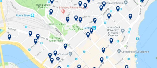 Alojamiento en el CBD de Brisbane - Clica sobre el mapa para ver todo el alojamiento en esta zona
