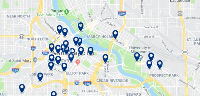Alojamiento en Dinkytown - Clica sobre el mapa para ver todo el alojamiento en esta zona